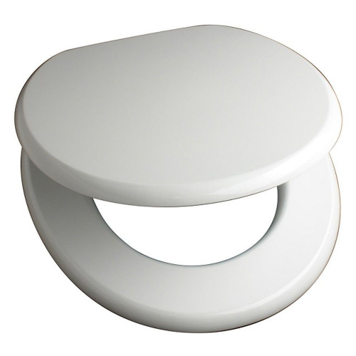 Mdf White Anti Bacterial Toilet Seat With Chrome Plated Hinges